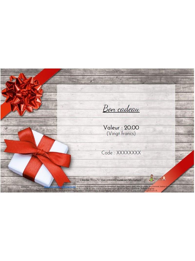 Bon cadeau de 20, 50 ou 100 francs pour une box de vêtements à louer chez Bibou'tic