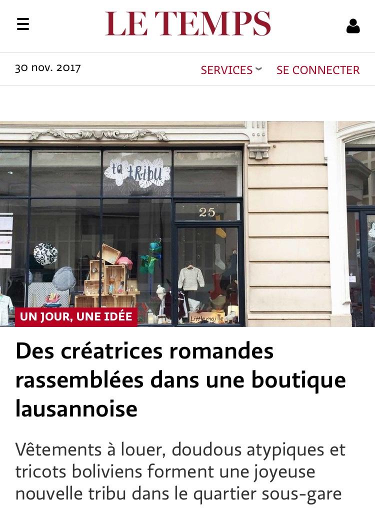 Bibou'tic dans Le Temps, le 22 novembre 2017